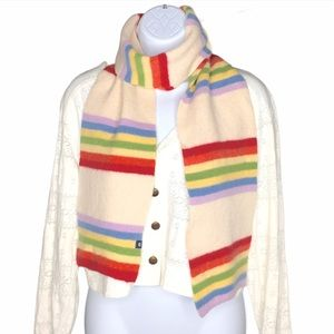 Gap Lambswool Rainbow Striped Pride Scarf Cream